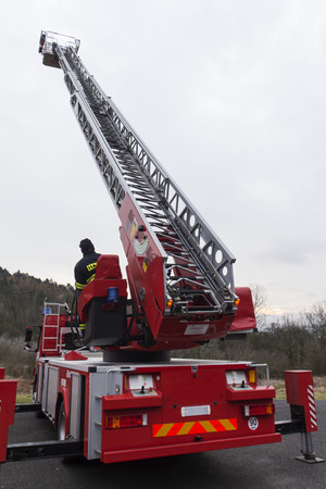 extension ladder on a fire truck Stock Photo