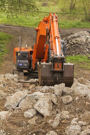 Demolition of the old stone bridge Stock Photo