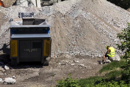 heavy machinery: demolition of the old bridge heavy machinery