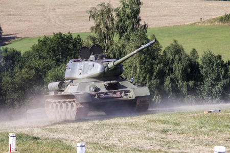 military tank: old military tank in combat Stock Photo