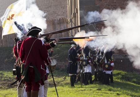 historical battle: presentation of a historical battle armies Stock Photo