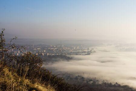 fog foggy: in the autumn in fog Stock Photo