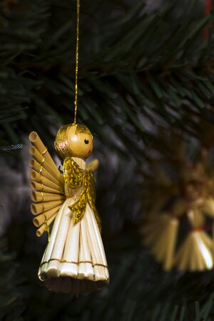 endow: Christmas ornaments on the tree Stock Photo