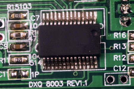 componentes: electronic components on a printed circuit board Foto de archivo