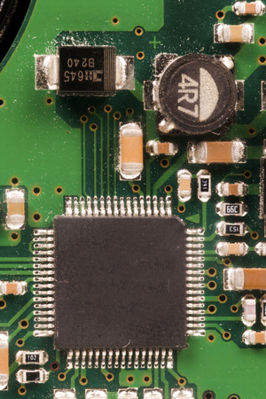 components: electronic components on a printed circuit board Stock Photo