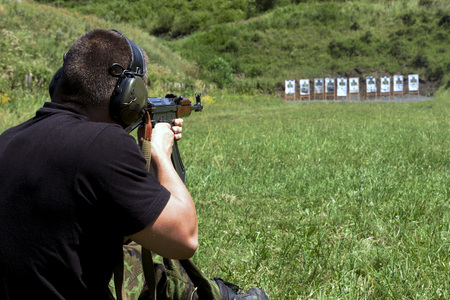 Police shooting practice at a shooting range Stock Photo