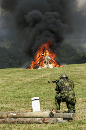 troops and equipment in the historic Battle
