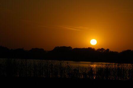 Sunset Over Lake Banco de Imagens