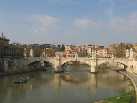tiber: Bridge over the Tiber river in Rome1