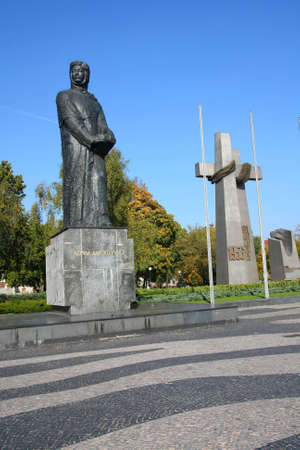 Adam Mickiwicz' monument and solidarity crosses Stock Photo - 3764036