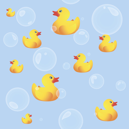rubber ducks: Rubber Ducks Seamless Background with Bubbles