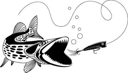raptorial: Pike and popper, vector illustration