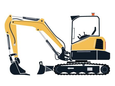 Vector graphic of a mini excavator