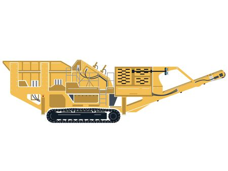 A vector graphic of a portable impact rock crusher on tracks