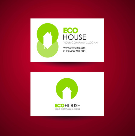 eco home: Eco home and real estate logo template. Business card design idea. Illustration