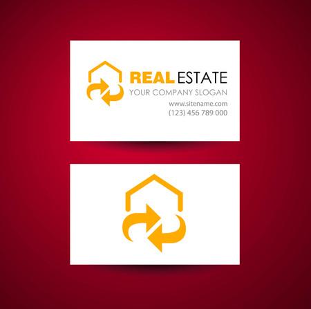 Eco home and real estate logo template. Business card design idea.