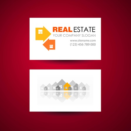 Eco home and real estate logo template business card design eco home and real estate logo template business card design idea stock vector wajeb Image collections
