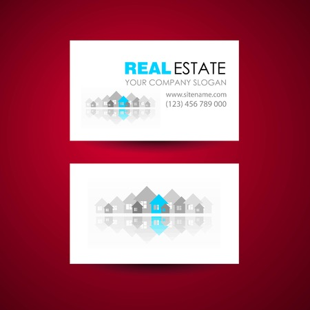 accommodation broker: Eco home and real estate logo template. Business card design idea. Illustration