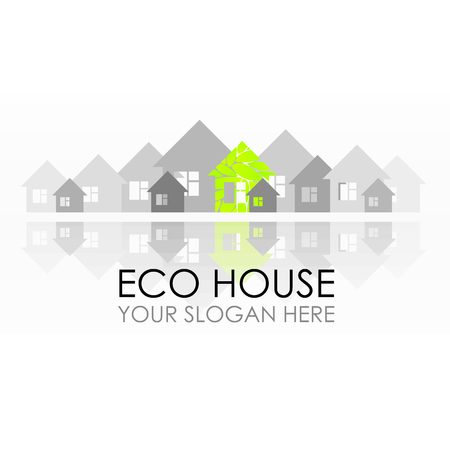 Eco house logo design. Ecological construction. Eco architecture. Eco house and clean environment. Design idea for a building company Stock Illustratie