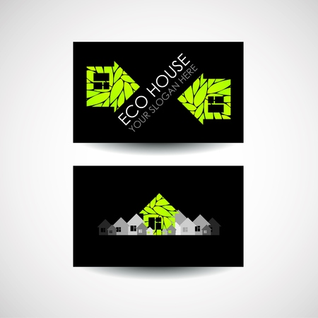 accommodation broker: Eco house logo and business card design. Ecological construction. Eco architecture. Eco house and clean environment. Business card design idea Illustration