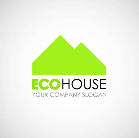 accommodation broker: Eco house logo design. Ecological construction idea. Eco architecture and eco building. Eco house and clean environment. Eco home.