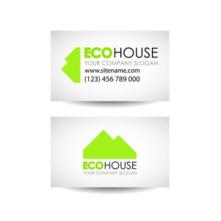 accommodation broker: Eco house and real estate logo template. Eco house business card design idea. Eco architecture and construction. Business card design template
