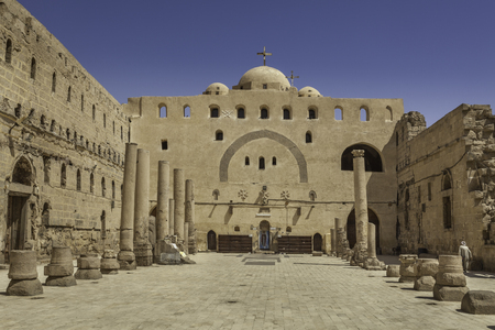 Facade of the church in White Monastery in Sohag, Egypt