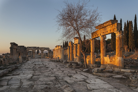 Main thoroughfare of roman Hierapolis with adjacent remains of buildings, Pamukkale, Turkey