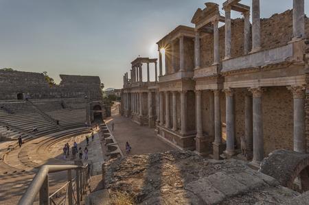 Atardecer en el teatro romano de Mérida, Extremadura, España
