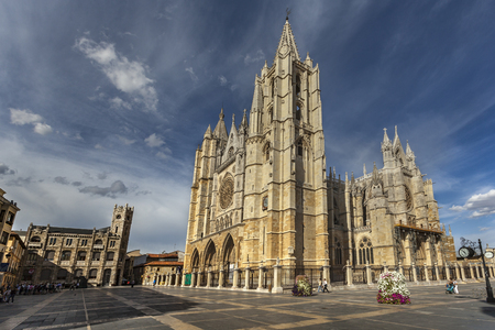 Square Plaza Regla with magnificent gothic cathedral of Leon