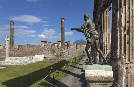 Bronze statue of Apollo in ruins of Pompeii Stock Photo