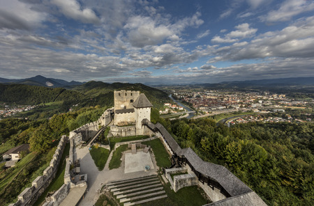 Medieval castle with the town Celje in background, Slovenia