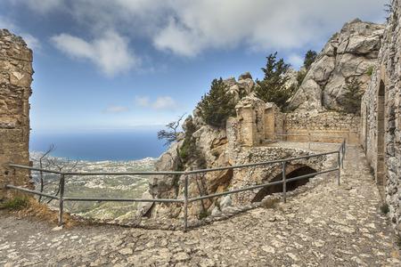 Ruins on the top of St. Hilarion castle near Kyrenia (Girne), North Cyprus Archivio Fotografico