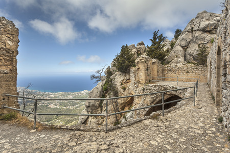 Ruins on the top of St. Hilarion castle near Kyrenia (Girne), North Cyprus Imagens
