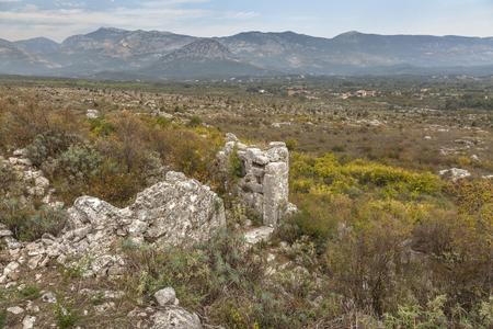Ruins of medieval buildings in old town Sas (Svac) near Ulcinj, Montenegro