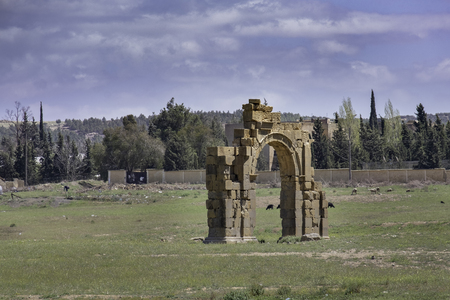 Ruins of triumphal arch at Roman town and military legion camp Lambaesis (Lambese) near Batna, Algeria