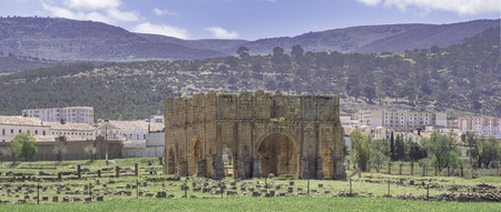Panoramic view with ruins of Roman town and military legion camp Lambaesis (Lambese) with so called Praetorium near Batna, Algeria