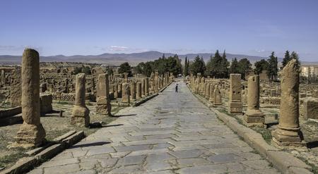 Roman road Cardo Maximus in Timgad, a Roman-Berber city (Colonia Marciana Ulpia Traiana Thamugadi), Algeria