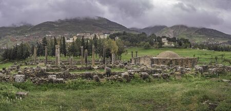 Panoramic view of early christian basilicas with baptistery in roman town Cuicul at village Djemila, Algeria