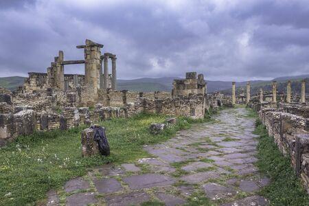 Temple of Venus Genetrix with road in roman town Cuicul, Djemila, Algeria