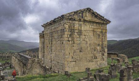 Temple of Gens Septimia in roman town Cuicul at village Djemila, Algeria