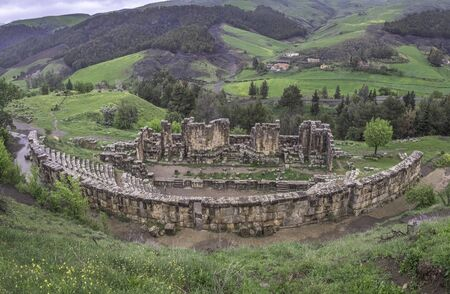 Ruins of theater in roman town Cuicul at village Djemila, Algeria
