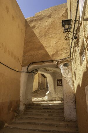 Street with entrance in medieval town Beni Isguen, province Ghardaia, Algeria
