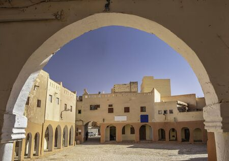 Main square in El Atteuf, one of the five cities making up what is referred to as the M'Zab Pentapolis, Algeria