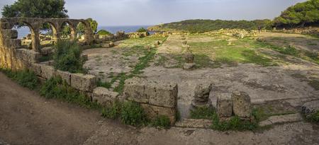 Panoramic view of ruins of great basilica in roman town Tipasa (Tipaza), Algeria