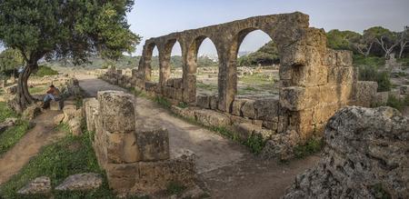 Romantic ruins of early christian basilica in roman town Tipasa (Tipaza), Algeria 免版税图像