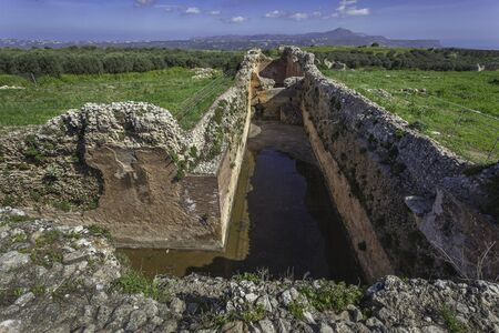 Vaulted cistern in ancient town Aptera, Crete, Greece