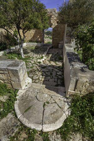 Ruins of byzantine church in ancient Aptera, Crete, Greece
