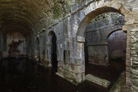 Three parted cistern in ancient Aptera, Crete, Greece 免版税图像