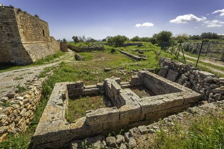 Ruins of greek double parted temple in Aptera, Crete, Greece